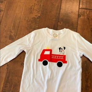 Boys fire truck Applique long sleeve top
